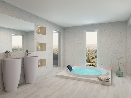 indoors: Bright light bathroom interior with jacuzzi and two wash basins