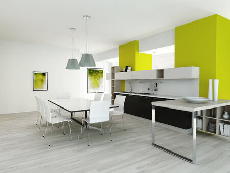 Neon green style kitchen interior with applicanes and dining table photo