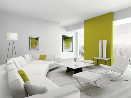 living room minimalist: Luxury design white living room interior with modern furniture couch