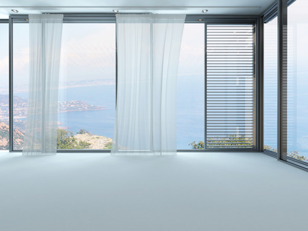 現代の空の白い部屋インテリア