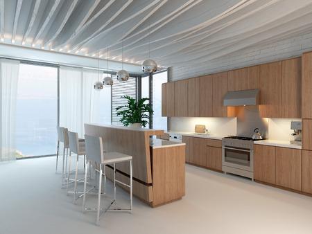 tornar: Nice interior cozinha de madeira brilhante, com bar e fezes Imagens