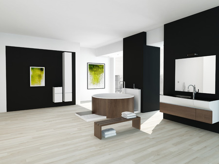 Black and white style bathroom interior with wooden bathtub photo
