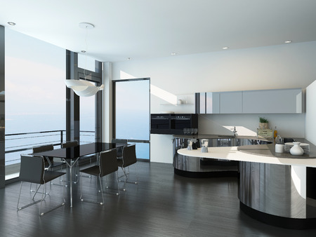 Modern luxury black and white style kitchen interior  photo