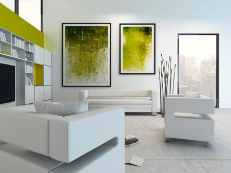 Interior moderno de la sala de estar con cuadros verdes en la pared Foto de archivo - 29023064