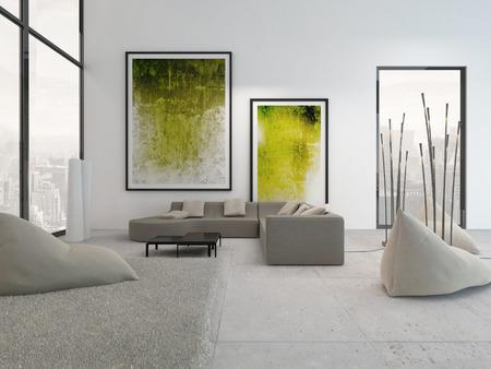 Moderne woonkamer interieur met groene schilderijen aan de muur Stockfoto