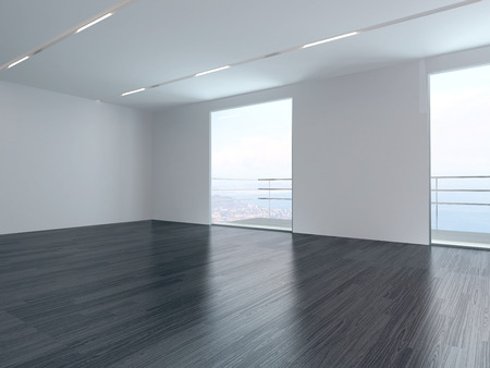 empty house: Modern empty white room interior