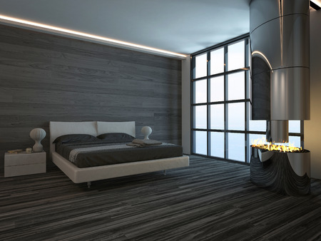 Dark black style bedroom interior with open fireplace photo