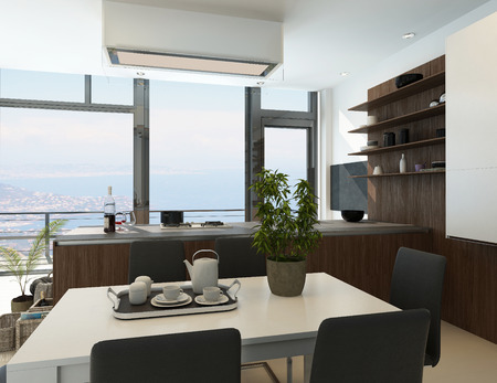 Modern sunny kitchen interior with dining table and coffee photo