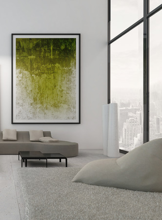 Modern living room interior with green paintings on wall photo