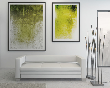 mur noir: Int�rieur moderne de salon avec des peintures vertes sur le mur
