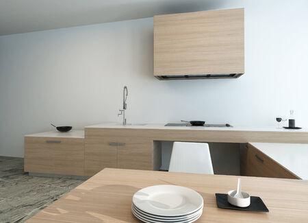 Close-up di cucina interna in un bel brillante stile di legno