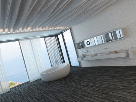 Modern bathroom interior with black floor, standalone bathtub and window with seascape view photo