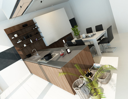Nice kitchen inter with brown wooden furniture Stock Photo - 29263316