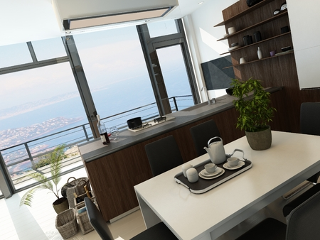 Modern luxury kitchen interior with dining table photo