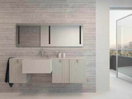洗浄とオープン バルコニーのドアのバスルームのインテリア盆地