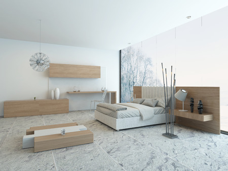 Nice cozy bedroom interior with modern wooden furniture