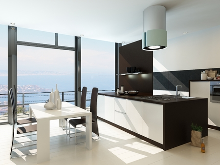Modern luxury kitchen interior with dining table Stock Photo - 29023074