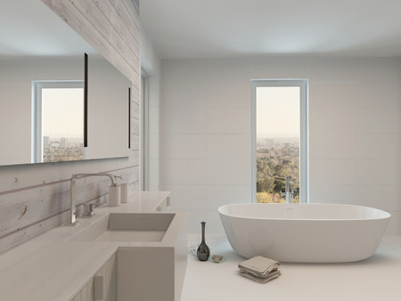 floor plans: Pure white bathroom interior with wooden wall