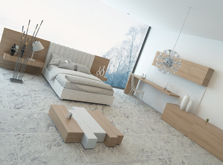Nice cozy bedroom interior with modern wooden furniture photo