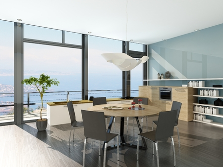 Modern kitchen interior with huge window and dining table Stock Photo - 29023131