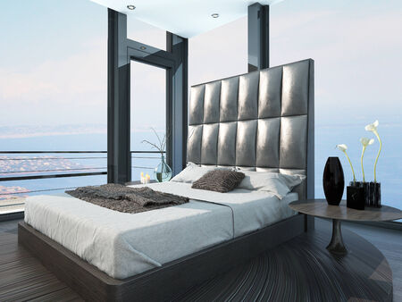 Modern extravagant leather bed with white bedsheets photo