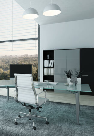 Nice home office interior with chair and desk photo