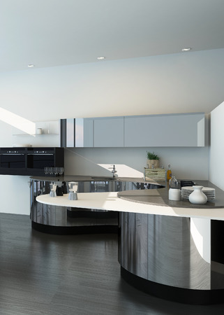 Modern silver and white colored kitchen interior photo