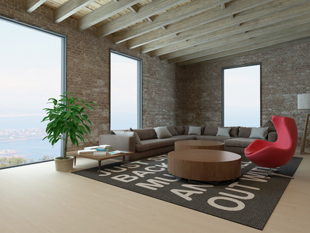 casa: Stylish living room interior with huge windows and brick wall Stock Photo
