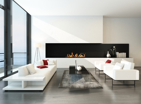 Pure minimalist living room interior with couch set and fireplace Stock Photo
