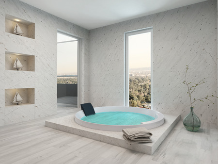 jacuzzi: Modern bathroom interior with parquet floor and jacuzzi Stock Photo
