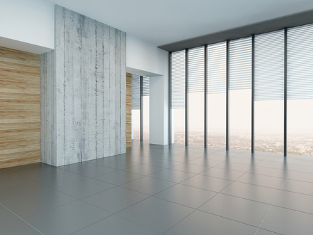 Empty room with wooden and concrete stone wall photo