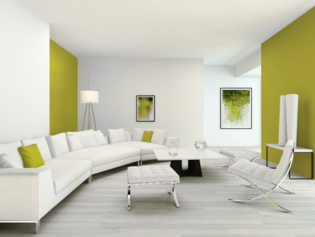 modern living room: Pure green and white living room interior with contemporary modern furniture