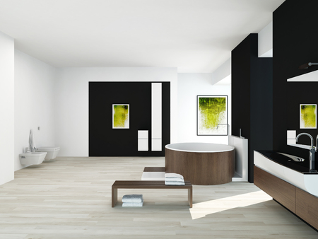 Modern bathroom interior with black wall, green painting and round wooden bathtub photo
