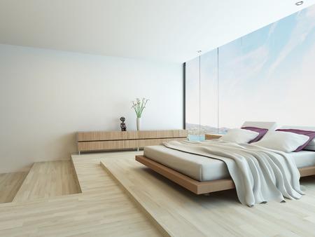 현대적인 디자인의 고급 침실 인테리어