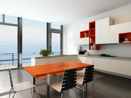 Modern contemporary kitchen interior with dining table photo