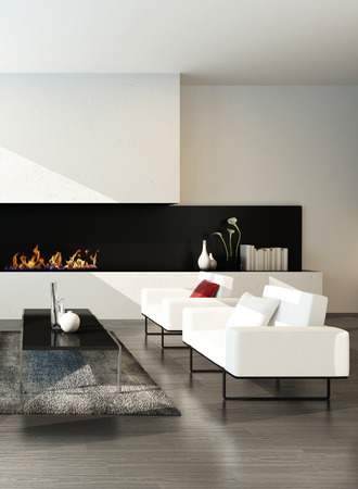 Pure minimalist living room interior with couch set and fireplace photo