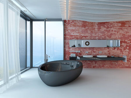 Modern design bathroom interior with black bathtub and red wall photo