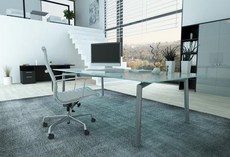 유리 책상, 의자 및 PC와 현대적인 사무실 인테리어
