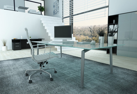 desk work: Modern office interior with glass desk, chair and PC Stock Photo