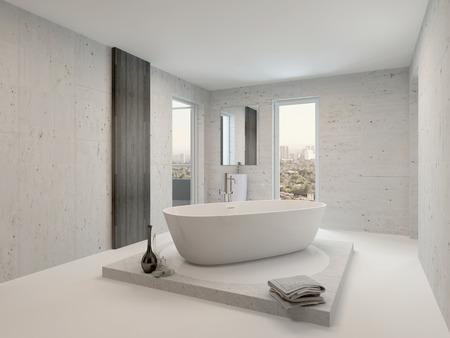 독립 구조로 서있는 흰색 욕조와 미니멀 욕실 인테리어