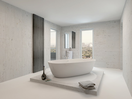 Minimalist bathroom interior with freestanding white bathtub photo