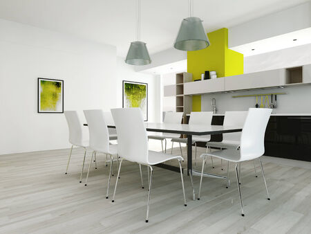 Modern contemporary dining room interior with green colored wall photo