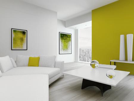 Tiszta Zöld és Fehér Nappali Belső Kortárs Modern Bútorok Royalty ...