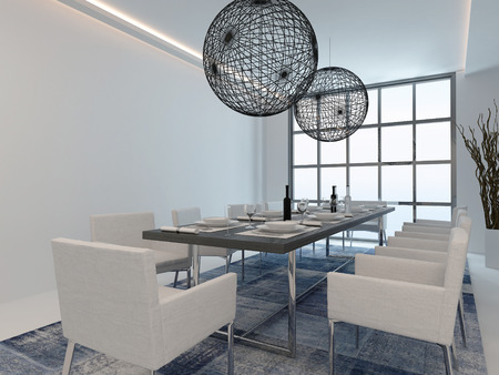 dining room: Nice dining room interior with dining table and modern window