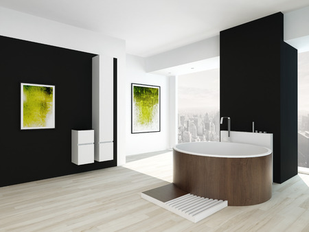 Modern bathroom interior with black wall, green painting and round wooden bathtub Banco de Imagens