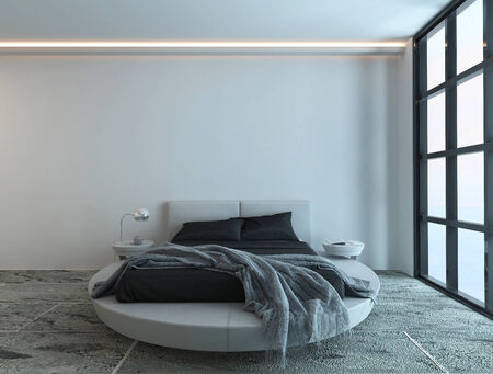 Modern contemporary bedroom interior with white bed and huge window photo