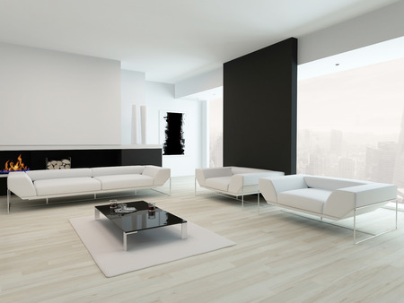 loft living: Modern contemporary black and white living room interior