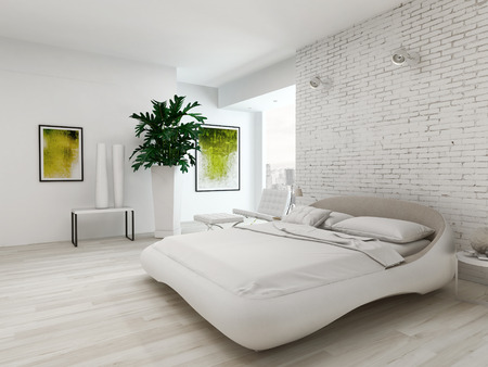 empty house: Nice bedroom interior with white king-size bed in front of brick wall Stock Photo