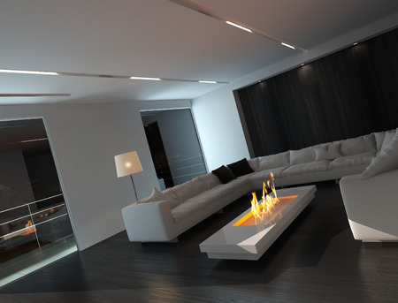 Living room interior at night with fireplace photo