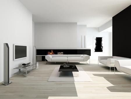 fireplace living room: Modern black and white living room interior